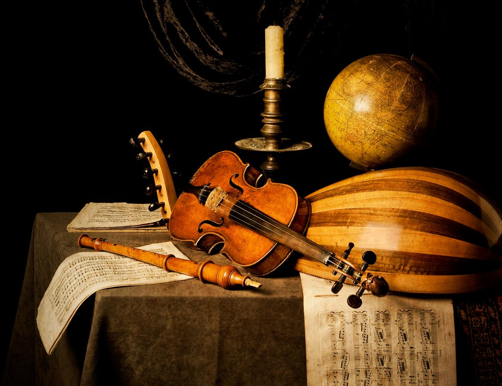 Music Stilllife Globe Violin Recorder Lute Candlestick Artlibre 949362.jpg!d